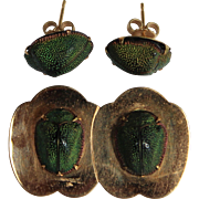 Victorian 14K Yellow Gold Egyptian Revival Green Scarab Beetle Pin & Earring Set Designed by Caplan, Baltimore, MD