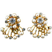 Vintage 1950s Clear Rhinestone and Imitation Pearl Fan Gold Tone Clip On Earrings