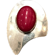 Vintage 1950s TAXCO Mid-Century Modern Red Dyed Quartz and Sterling Silver Brooch
