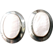 Vintage 1980s Large Oval Pink Mother of Pearl and Sterling Silver Pierced Stud Earrings