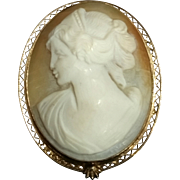Vintage 1962 ROLYN INC. Hand-Carved Shell Cameo on 12 Karat Gold Fill Metal Brooch and Pendant Combination