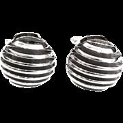 Vintage 1950s Mid Century Modern Microphone Silver Tone Torpedo Cufflinks