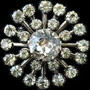 Vintage 1950s Starburst Flower Clear Rhinestone Brooch in Silver Tone Metal
