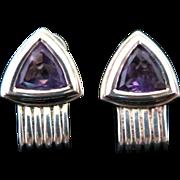 Vintage Purple Faceted Triangular Amethyst in Silver Tone Metal Pierced Earrings