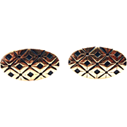 Vintage 1960s Signed HICKOK Gold tone and Black Oval Cufflinks