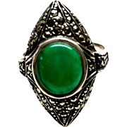 Vintage 1930s Art Deco Green Chrysoprase, Marcasite and Sterling Silver Marquis Shaped Ring Size 5