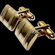 Vintage 1980s Gold Tone Rectangular Mod Cufflinks