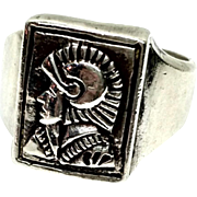 Vintage Sterling Silver Roman Soldier Large Raised Men's Ring Size 10.5