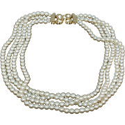 Signed MONET 1980s Vintage Multi Strand Imitation Pearl Necklace
