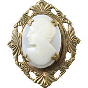 Vintage 1920s Art Deco Shell Hand Carved Woman Cameo Set In Brass