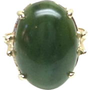 Vintage Large Nephrite Jade and 10 Karat Yellow Gold Ring Size 7