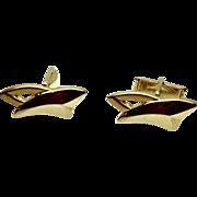 Vintage 1940s PIONEER Unisex Gold Tone Swoosh Cufflinks