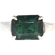 Vintage Dark Green Emerald Cut Tourmaline and Sterling Silver Unisex Ring Size 9.5