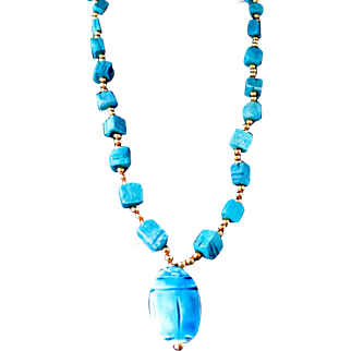"Vintage Neon Blue Scarab Egyptian Revival Faience and Gold Tone Bead 30"" Opera Length Necklace"