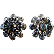 "Vintage 1950s Signed WEISS Gray ""Black Diamond"" Rhinestone Clip On Earrings"