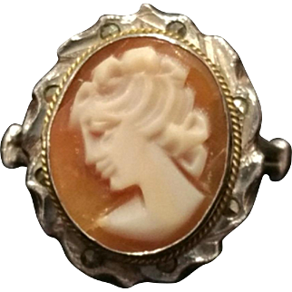 Vintage 1920s Art Deco Hand Carved Shell Cameo in 800 Silver with Marcasites Size 6