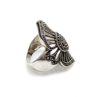 Vintage 1980s Stamped HAN THAI Art Nouveau Styled Large Marcasite and Sterling Silver Ring Size 7.25