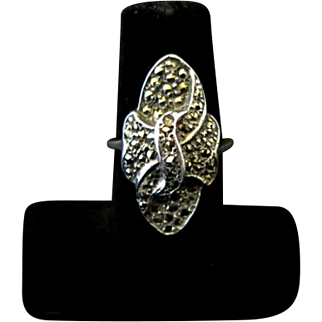Vintage 1920s Art Deco Sterling Silver and Marcasite Knot Flapper Ring Size 7