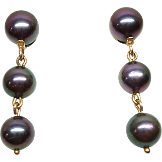 Vintage 1980s Japanese Akoya Color Enhanced Cultured Pearl and 9K Yellow Gold Pierced Earrings