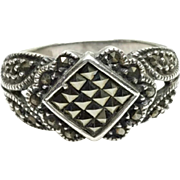 Vintage 1980s Marcasite and Sterling Silver Thick Band Diamond Statement Ring Size 8.5