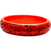 Vintage 1960s Carved Chinese Cinnabar Red Lacquered Bangle with Cherry Blossom Flowers and Leaves
