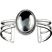 Vintage Hematite and Sterling Silver Southwestern Cuff
