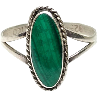 Vintage TAXCO 1980s Mexico Sterling Silver and Oval Cabochon Green Banded Malachite Modern Ring Size 6.75