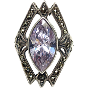 Vintage 1960s Purple Marquis Cut Synthetic Sapphire, Marcasite and Sterling Silver Thai Art Deco Reproduction Ring Size 5.75