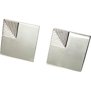 Vintage 1960s SWANK Square Unisex Silver Tone Minimalist Cufflinks with Torpedo Toggles
