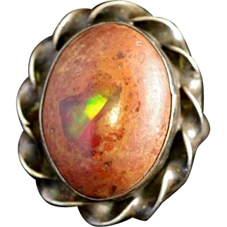 Vintage 1950s Orange Mexican Fire Opal and Sterling Silver Mid Century Ring Size 7.75
