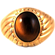 Vintage 1960s CLARK AND COOMBS Tiger's-Eye Quartz Cabochon and Yellow Gold Fill Metal Men's Ring Size 8.75