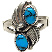 Vintage 1980s Turquoise and Sterling Silver Two Cabochon and Feather Southwestern Ring Size 6.5