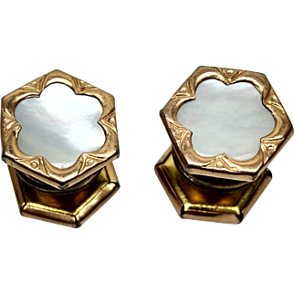 Vintage 1920s LION BRAND English Art Deco Mother-of-Pearl and Gold Tone Metal Snap Unisex Cufflinks
