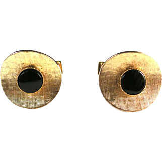 Vintage 1940s PIONEER Black and Gold Circle Unisex Cufflinks with Whale Back Closure