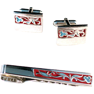 Vintage 1960s ANSON Red and Light Blue Floral Painted Rectangle Cufflinks and Tie Clip Set in Silver Tone Metal