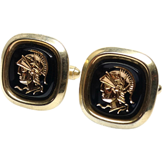 Vintage 1960s Intaglio Roman Soldier Black and Gold Tone Unisex Cufflinks