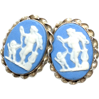 Vintage 1930s WEDGWOOD Jasperware and Sterling Silver Apollo and Cupid Screw Back Earrings