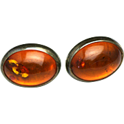 Vintage 1980s Amber Cabochon and Sterling Silver Sun-spangled Post Pierced Earrings