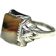 Vintage 1930s Clark and Coombs Landscape Agate and Sterling Silver Ring Size 6