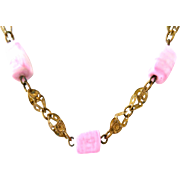 Antique c. 1915 Filigree Brass Czech Pink Glass Matinee Necklace