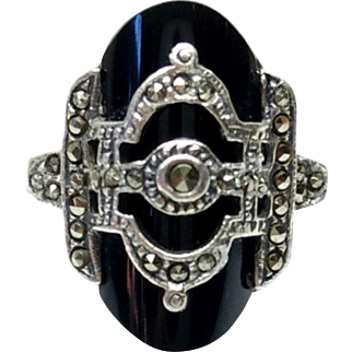 Vintage 1930s Art Deco Onyx, Marcasite and Sterling Silver Statement Ring Size 7.75