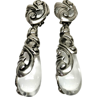 Vintage 1960s Swirled Silver Plate, Clear Rhinestone and Clear Glass Large Statement Dangle Clip On Earrings