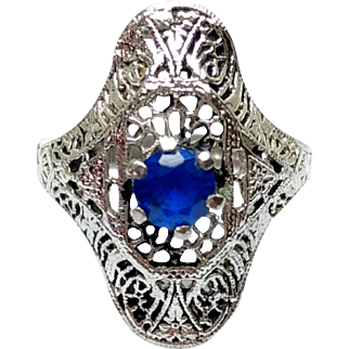 Vintage 1920s ESPO Art Deco Blue Synthetic Spinel and Sterling Plate Filigree Ring