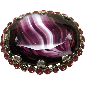 Vintage 1930s Purple and White Swirl Glass Flower Large Brooch