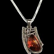 Vintage 1960s Large Amber and Sterling Silver Brutalist Pendant Necklace