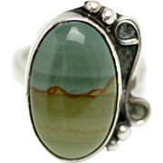 Vintage 1970s Landscape Agate and Sterling Silver Ring Size 4.75