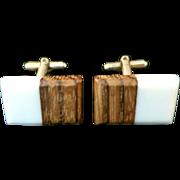 Vintage Wood and Bone Rectangular Torpedo Cufflinks Set in Yellow Tone Metal