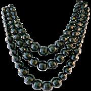Vintage Black Choker Multi Strand Briolette Graduated Necklace