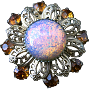 Vintage 1940s German Jelly Opal Glass, Citrine Colored Rhinestone and Brass Filigree Flower Brooch