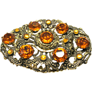 Vintage 1930s Art Deco Gold Tone and Citrine Colored Rhinestone Large Brooch
